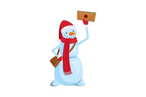 Snowman with a mail bag and letter on a white background. Vector illustration.