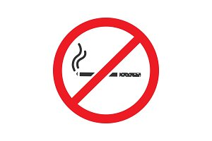 Forbidden sign with cigarette glyph icon