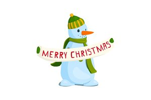 Snowman with a poster of merry christmas. Vector illustration.
