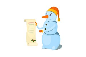 Snowman with a congratulatory scroll. Vector illustration.