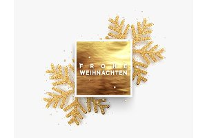 German text Frohe Weihnachten. Christmas background, golden square frame with shining gold snowflakes sprinkled sparkles.