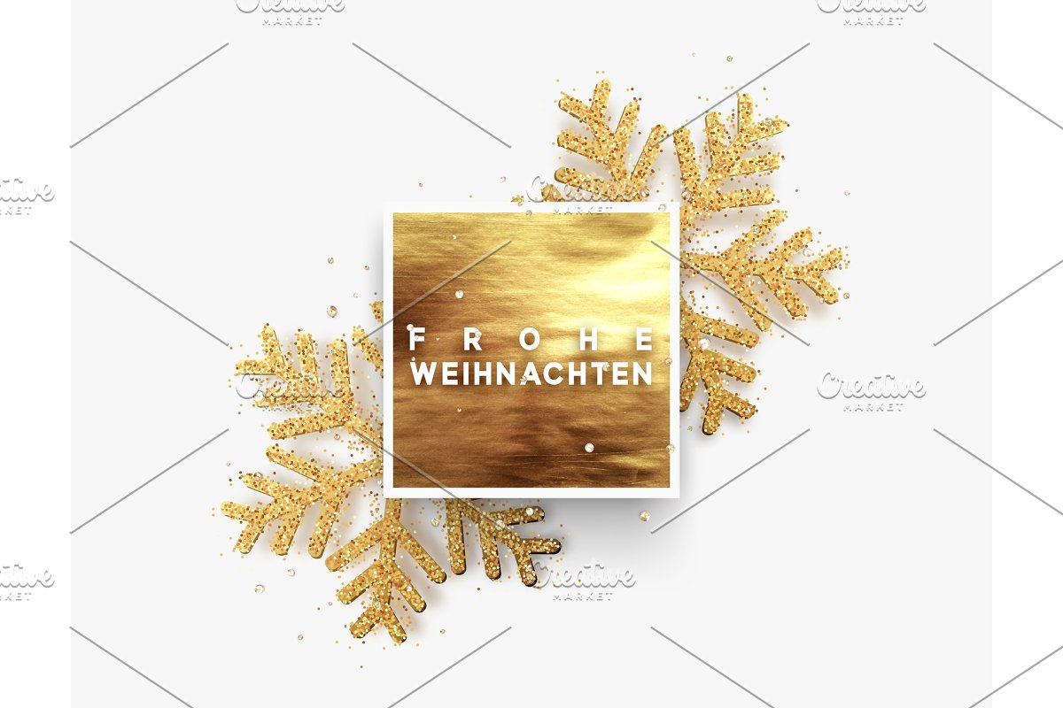 Text Frohe Weihnachten.German Text Frohe Weihnachten Christmas Background Golden Square Frame With Shining Gold Snowflakes Sprinkled Sparkles