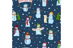 set of holiday snowman on a winter background. Snowmen in different hats and scarves with posters and New Year's attributes. Vector Seamless Pattern.