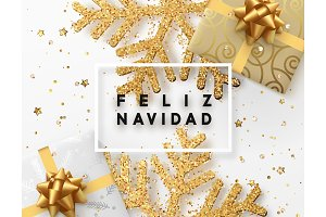 Spanish lettering Feliz Navidad. Christmas background with gifts box and shining golden snowflakes.