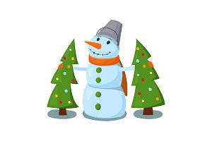Snowman with two Christmas trees. Vector illustration.