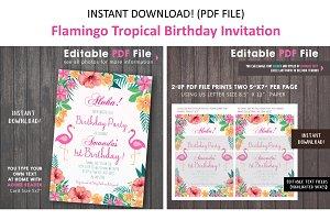 Pink Flamingo Tropical Invitation