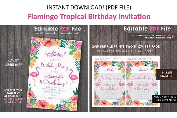 pink flamingo tropical invitation invitation templates creative