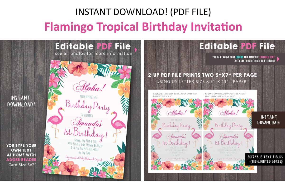 Pink Flamingo Tropical Invitation | Creative Invitation Templates ...