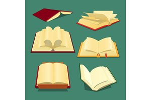 Open Books Set Cartoon