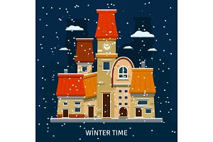 Winter street background with city houses and clock tower. Vector illustration.