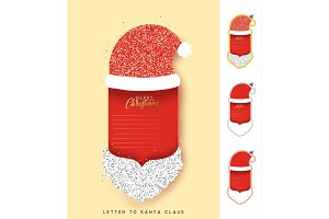 Vector Paper Santa Claus. Christmas design elements