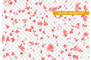 Falling shiny red hearts confetti isolated on transparent background