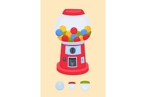 vending machine for the sale of chewing gum, balls, toys. Gumball machine. Vector illustration