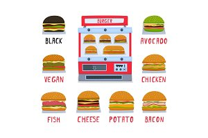 Vending machine for the sale of burgers. A set of burgers. Vector illustration.