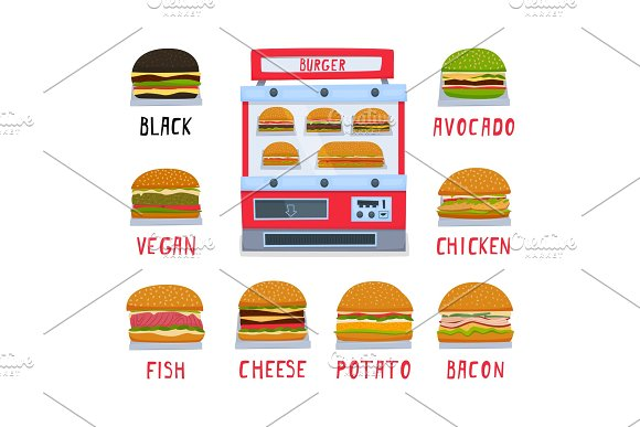 Vending Machine For The Sale Of Burgers A Set Of Burgers Vector Illustration
