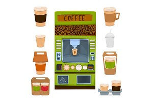 vending machine for the sale of hot coffee drinks and chocolate. Packaging for take-away coffee. Vector illustration.