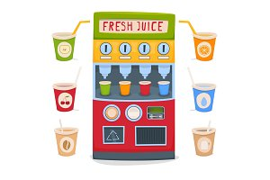 A vending machine for selling fresh fruit juices, water, tea and coffee take-away. A set of cups with drinks. Vector illustration