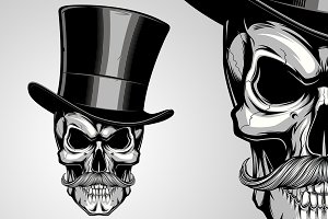 Whiskered skull in a hat