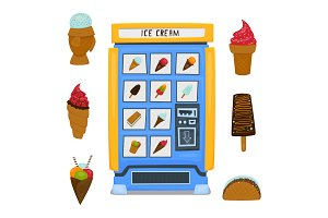 A vending machine for selling fruit ice and ice cream. A set of ice cream on a white background. Vector illustration.