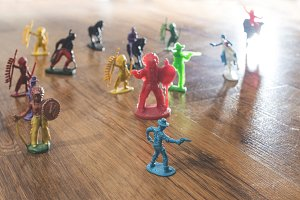 Miniature figures toys on the floor