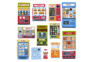 A set of vending machines for the sale of food, beverages and services. Vector illustration.
