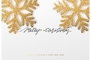 Christmas background with Shining gold Snowflakes