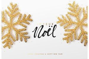 Joyeux Noel. Xmas background with shining golden snowflakes.