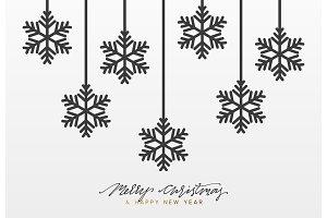 Christmas background, design black snowflakes texture paper