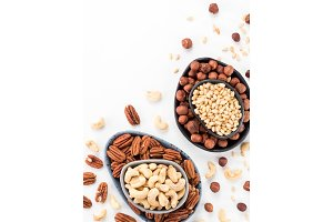 cashew, pecan, pine nuts, hazelnut isolated