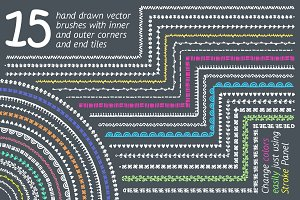 Set of 15 hand drawn pattern brushes