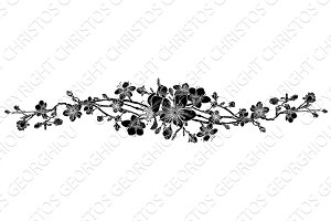 Peach Cherry Blossom Flower Pattern Design Element
