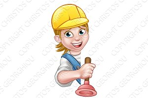 Plumber Woman Cartoon Character