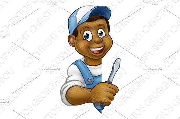 Electrician Builder Cartoon Character in Illustrations