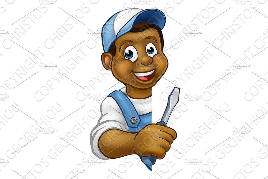 Electrician Builder Cartoon Character in Illustrations - product preview 8