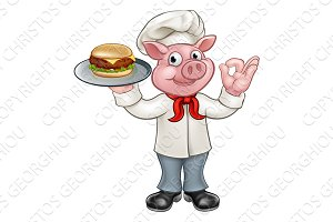 Cartoon Character Pig Chef Holding Burger