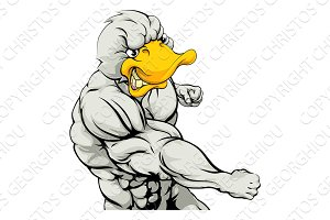 Punching duck mascot