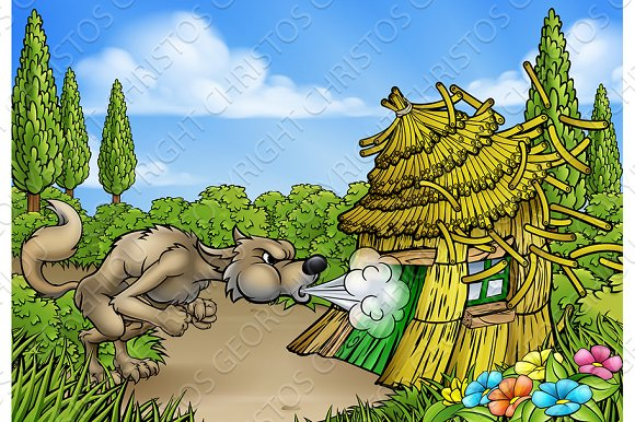 Big Bad Wolf Three Little Pigs Blowing Down House in Illustrations