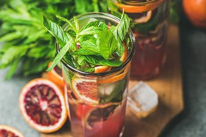 Blood orange lemonade with fresh mint and ice cubes