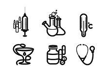 Icon set in black for medicine