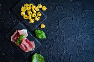 Freshly prepared Italian tortellini