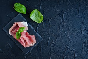 Prosciutto with basil