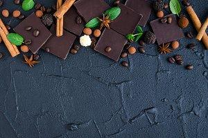 Dark chocolate with coffee beans