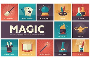 Magic - modern vector flat design icons set