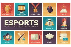 Esports - modern vector flat design icons set