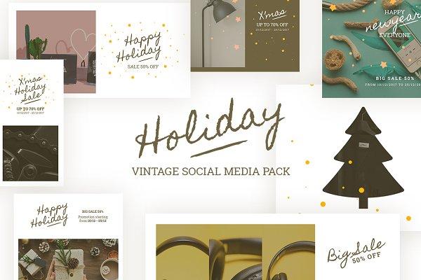 Holiday Vintage Social Media Pack