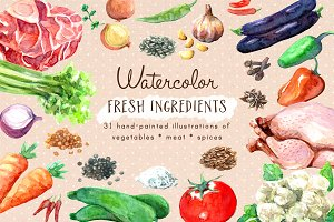 Watercolor Fresh Ingredients