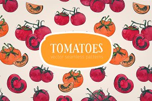Seamless pattern with tomatoes