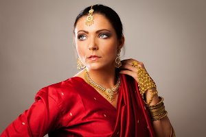 Young Woman Wearing Bollywood-style Sari