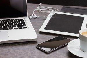 set of modern gadgets