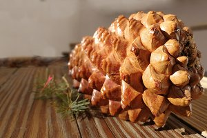 Pinecone on old boards